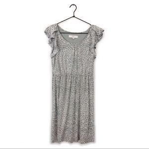 Loft Animal Print Ruffle Sleeve Dress